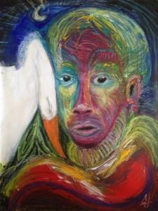 Mann mit Zwans. Acryl, pastel op doek