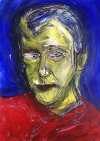 zelfportret van acrylverf en siberisch krijt op papier