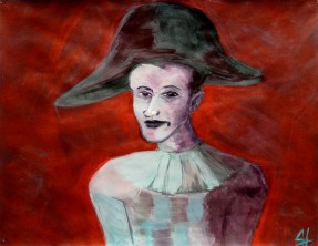 zelfportret als harlekijn > naar Picasso