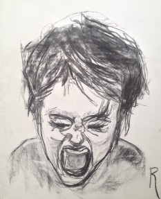 schreeuwende vrouw - rechts