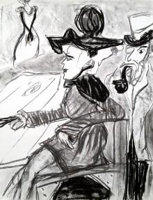 schets, naar Lautrec, met rechts