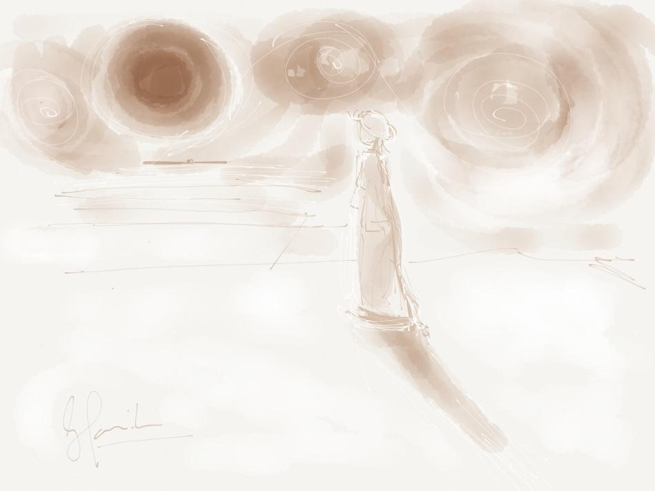de wachtende weduwe - doodle op ipad