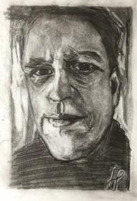 zelfportret potlood (tonal background)