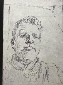 raamtekening zelfportret D.